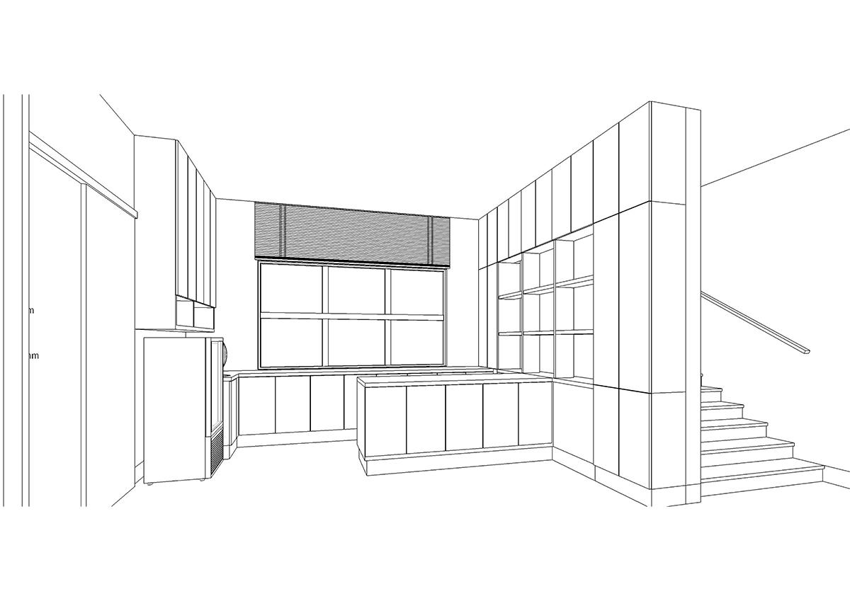 初期に描いたキッチンの3Dスケッチ