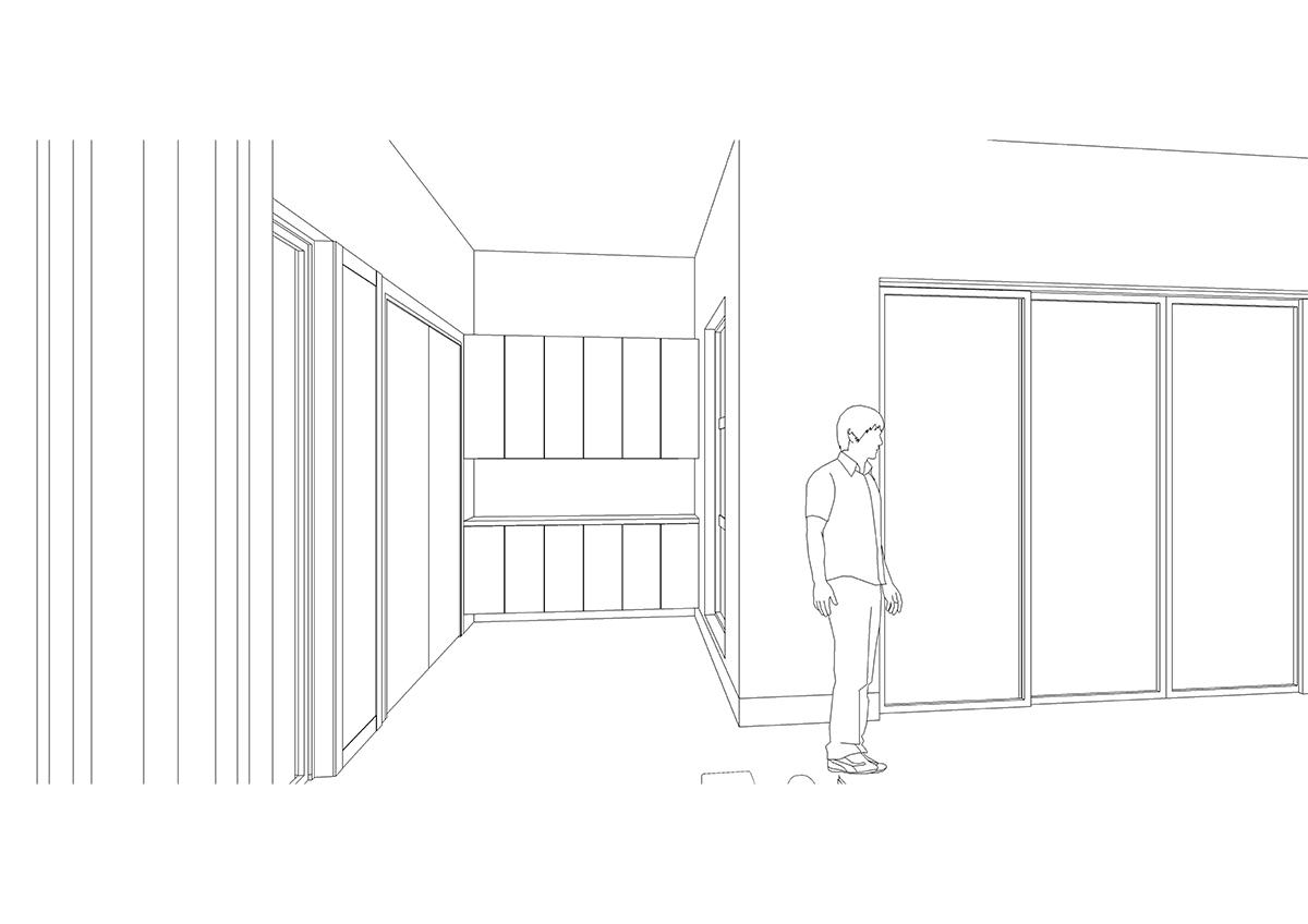 変更後のエントランスホール収納の3Dスケッチ