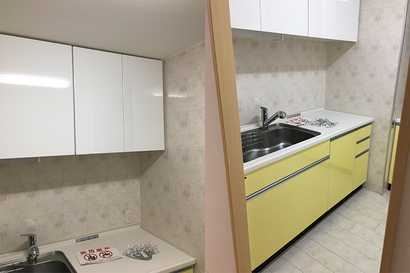 白のキッチン吊戸棚