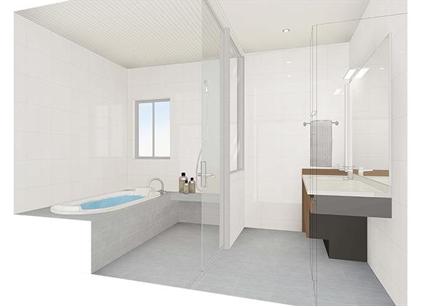 在来バスルームのリフォームイメージCGパース