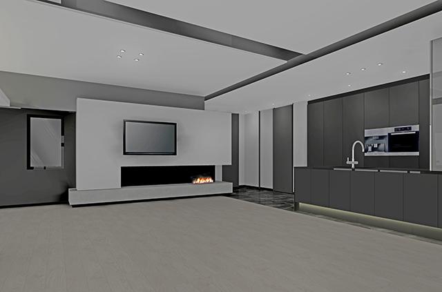 バイオエタノール暖炉とテレビ収納を造作したLDK