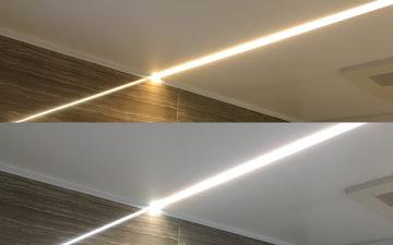 白色と電球色の灯りが切り換えできるフラットライン