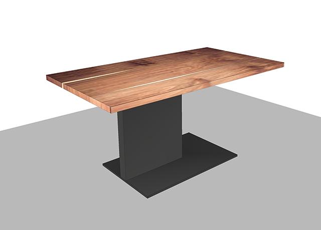 一本脚のダイニングテーブルのCGイメージ