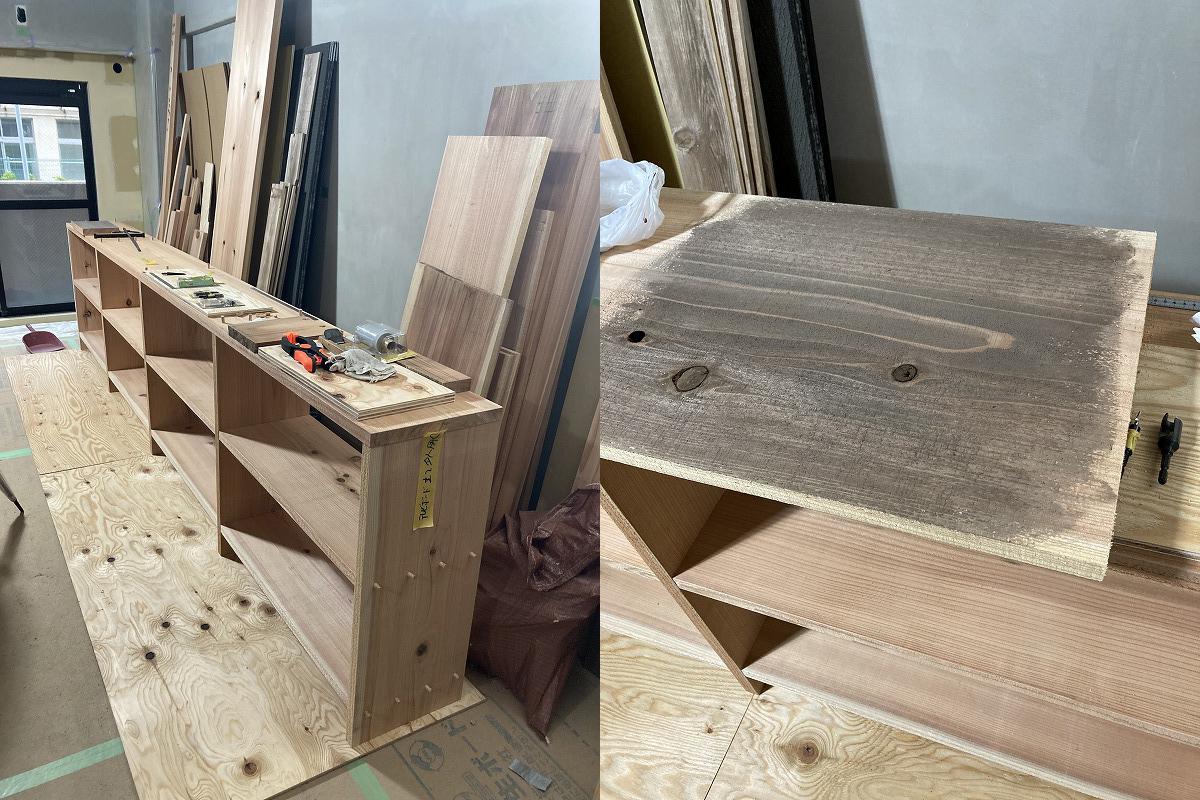 杉材の造作棚
