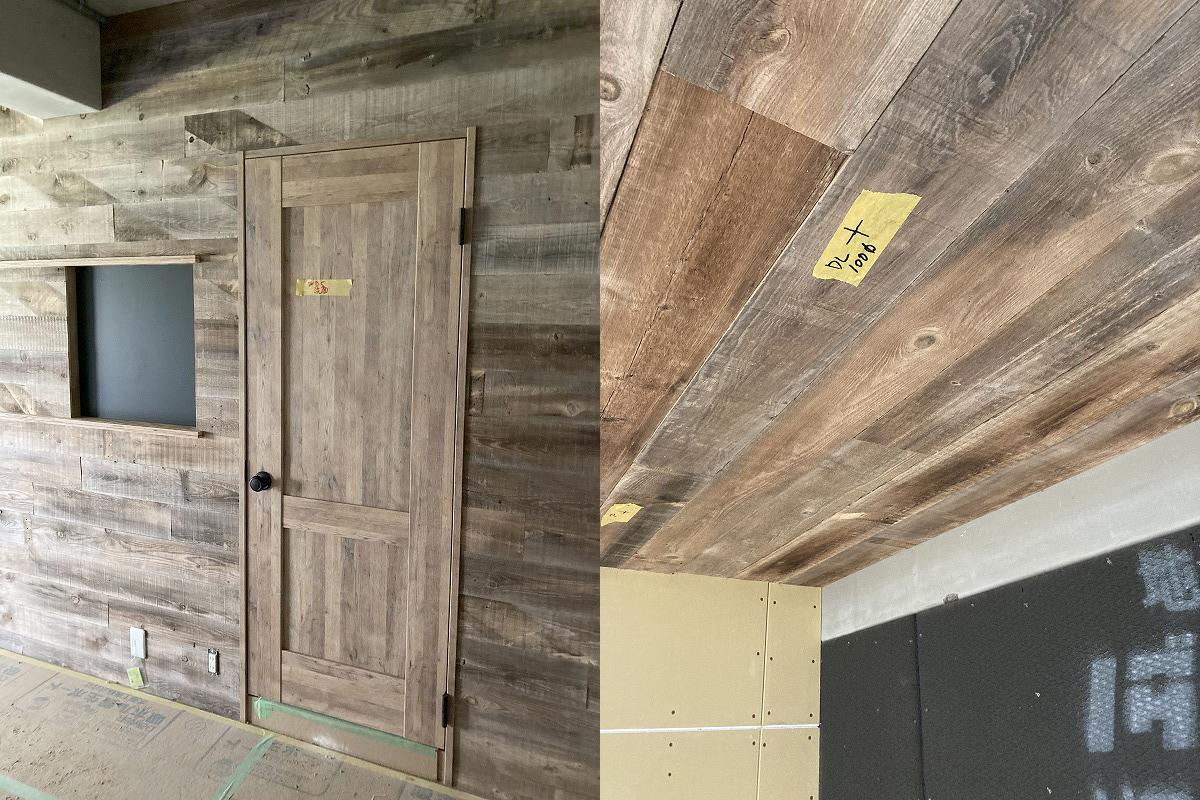 板張りの壁と天井
